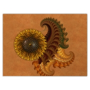 Leaflike fractal shapes in browns, gold and greens decorated with a sunflower rosette. A colorful, unique design perfect for people that like floral designs, as well as fantasy shapes and ornaments.
