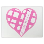 Be My Valentine? Pink plaid heart Large Cutting Board