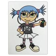 A smiling blue haired scene girl in a skull shirt holding her MP3 player.