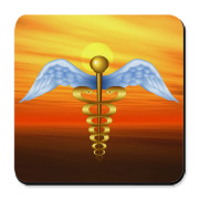 Medical symbol illustration. Looks familiar, but it is different: wings are rather realistic, snakes are golden. 3d effect created with gradient mesh and cast shadow. Perfect for doctors, medical staff and their family members.