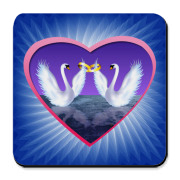 Two swans in love with wedding rings digital illustration. Get it for Wedding party, engagement party, Valentine's Day, Wedding anniversary, proposal.