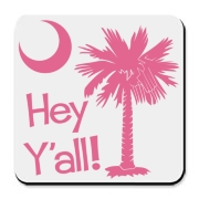 Say hello with the Pink Hey Y'all Palmetto Moon Cork Bottom Coaster. It features the South Carolina palmetto moon.