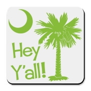 Say hello with the Lime Green Hey Y'all Palmetto Moon Cork Bottom Coaster. It features the South Carolina palmetto moon.
