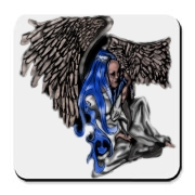 A blue haired angel sits with her wings folded around her. She wipes tears from her eyes as she moves forward with her own inner strength. Hand drawn image, digitally painted.