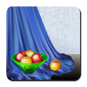 Ripe apples in front of wet window digital illustration.