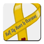 Half of My Heart Is Overseas says the ribbon & just by wearing it we feel better. People understand our sacrifice & thank us for our service because WE serve too! Perhaps it's best not to say where overseas, just in case.