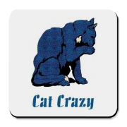Blue Swirl Cat Crazy Cork Bottom Coaster