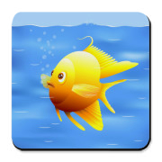 Sweet and funny, curious little gold fish digital illustration.