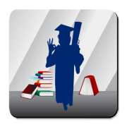 Graduate girl in gown and hat holding diploma silhouette digital illustration.