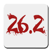 Red 26.2 splattered on running shirts.  Perfect for any marathon runner.