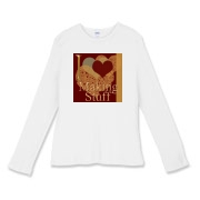 I love (heart) making stuff appears on this long sleeved t-shirt. It makes a perfect gift for the crafter!