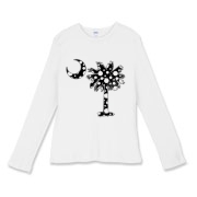 Black Polka Dot Palmetto Moon Women's Fitted Baby Rib Long Sleeve Tee features a black palmetto moon with white polka dots. Buy this fun variation on the South Carolina palmetto moon flag today!
