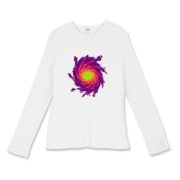 This women's intense art fitted baby rib long sleeve shirt shows colorful spiral arms with shooting sparks, spreading out from a bright central core.