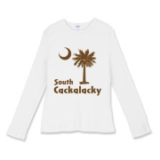 Brown South Cackalacky Palmetto Moon Women's Fitted Baby Rib Long Sleeve Tee features the South Carolina palmetto moon logo in brown.