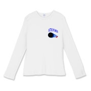 This lady's awesome astronomy fitted baby rib long sleeve shirt pocket emblem is perfect for the astronomer who prefers to do his stargazing with a refractor. It says: Astronomer, and has a depiction of a refractor telescope.