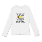 This women's satirical Cassini probe fitted baby rib long sleeve shirt uses a witty limerick to tell of the Huygens probe adventure. It shows a depiction of Saturn and its giant moon Titan.