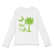 Say hello with the Lime Green Hey Y'all Palmetto Moon Women's Fitted Baby Rib Long Sleeve Tee. It features the South Carolina palmetto moon.