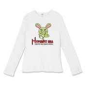 Women's Middle Finger Fitted Baby Rib Long Sleeve
