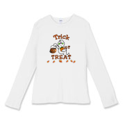 Trick or Treat with Halloween ghosts, pumpkins and black cats, candy corn included! Browse Happy Halloween decorations, watches and gift ideas at:  <a href=http://www.bonfiredesigns.com> Bonfire Designs