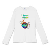 This women's cartoon bowling fitted baby rib long sleeve shirt has a flaming bowling ball smashing through bowling pins. The bowling ball has an angry grimace and bowling pins for eye pupils.
