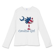 Carolina Girls are the best in the world! Choose your favorite shirt style and color for this patriotic American Flag version of our popular Carolina Girl design that features a palmetto with the stars and stripes of the U.S. Flag.