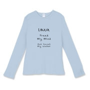 This women's computer geek fitted baby rib long sleeve shirt says: Linux Freed My Mind, And Saved My Wallet. Ideal for those enlightened, frugal Linux users.