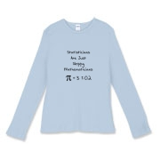 This women's student math fitted baby rib long sleeve shirt says Statisticians Are Just Sloppy Mathematicians. It shows the statistical equation for PI as Pi = 3 +/- 0.2 as proof. The Pi symbol is used instead of the word Pi.