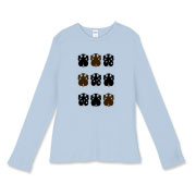 Women's Fitted Baby Rib Long Sleeve Nine puppies on front. Trio of Puppies on back.