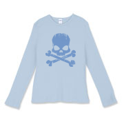 Blue Skull Women's Fitted Baby Rib Long Sleeve Tee