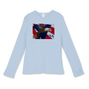 Women's fitted baby rib long sleeved t-shirt, available in three colors, features USA and the American Bald Eagle, a symbol of American freedom.