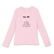 This women's comical college student fitted baby rib long sleeve shirt tries to help you steal a kiss. It says: Kiss Me! It's Okay, I'm Doing A Term Paper For Psych 101. If not a kiss, you might get a laugh.