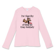 Funny Cartoon Goat T-shirt- I'm 1 goat shy of being the Crazy Goat Lady. Hilarious and true - makes a great gift for the crazy goat lady in your life. Goat T-shirts to die for.