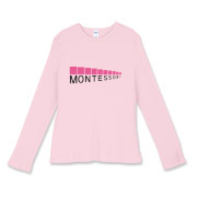 You will love this design that features the iconic Pink Tower, a sensorial material developed by Maria Montessori, a pioneer in early childhood education.  Spread the word of Montessori education!