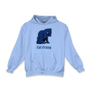 Cat Crazy. Blue swirl cat Kids Hooded Sweatshirt
