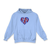 Red,blue plaid heart sweatshirt