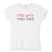 Real Girls Train Hard Women's Fitted Baby Rib Tee