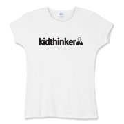 Official kidthinker logo on women's fitted baby rib tee.