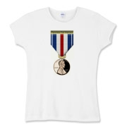 Pennies For Heroes Medal Women's Fitted Baby Rib T