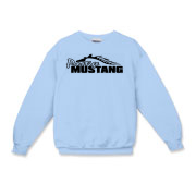 Cozy Kids Crewneck Sweatshirt features our popular Prestige Mustang Bold Logo design on the front