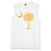 Yellow Polka Dot Palmetto Moon Sleeveless T-Shirt features a yellow palmetto moon with white polka dots. Buy this fun variation on the South Carolina palmetto moon flag today!