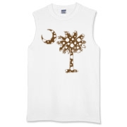 Chocolate Brown Polka Dot Palmetto Moon Sleeveless T-Shirt features a chocolate brown palmetto moon with white polka dots. Buy this fun variation on the South Carolina palmetto moon flag today!