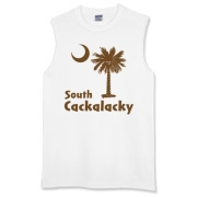 Brown South Cackalacky Palmetto Moon Sleeveless T-Shirt features the South Carolina palmetto moon logo in brown.