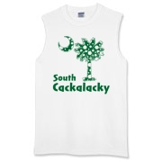Green Polka Dots South Cackalacky Palmetto Moon Sleeveless T-Shirt features a Polka Dot South Carolina palmetto moon logo in green.
