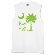 Say hello with the Lime Green Hey Y'all Palmetto Moon Sleeveless T-Shirt. It features the South Carolina palmetto moon.