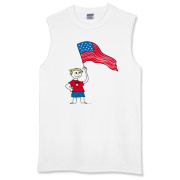 Patriotic t-shirts and gear for 4th of July or any day with illustration of a boy holding an American flag and wearing a t-shirt that says USA. Original <a href=http://www.lesrubadesigns.com/fourth_of_july.htm>Patriotic Merchandise</a> from Lesruba Desi