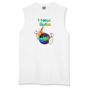 This funny face bowling sleeveless t-shirt has a flaming bowling ball smashing through bowling pins. The bowling ball has an angry grimace and bowling pins for eye pupils.