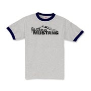 Sharp Kids Ringer T-Shirt features our popular Prestige Mustang Fade Logo design on the front