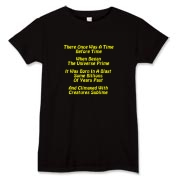This women's silly Big Bang limerick t-shirt gives in rhyme a quick recount of the evolution of the universe, from the Big Bang beginning to the creation of mankind.