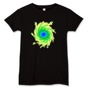 This lady's flashy art t-shirt looks like a colorful, spiral galaxy.