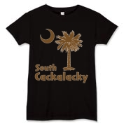 Brown South Cackalacky Palmetto Moon Women's T-Shirt features the South Carolina palmetto moon logo in brown.